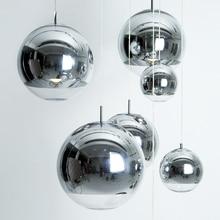 цена на Modern Mini Globe Pendant Lighting with Handblown Clear Glass, Adjustable Mirror Ball Pendant Lamp Living Room Kitchen Hallways