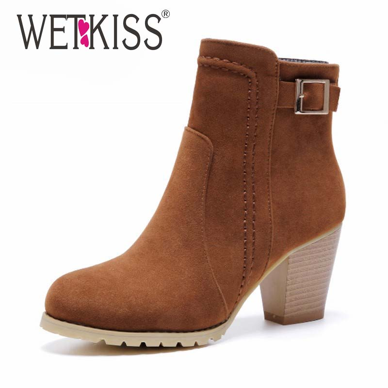 ФОТО WETKISS Women Boots Buckle Strap Ankle Boots Thick High Heels Platform Shoes Woman Spring Winter Boots Women's Shoes Size 32-43