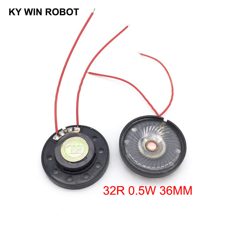 Acoustic Components 2pcs/lot New Ultra-thin Toy-car Horn 32 Ohms 0.5 Watt 0.5w 32r Speaker Diameter 36mm 3.6cm With Wire