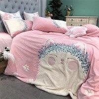 Милый мультфильм аппликация вышивка розовый девочка ребенок фланелевый Комплект постельного белья мягкая флисовая ткань пододеяльник пос