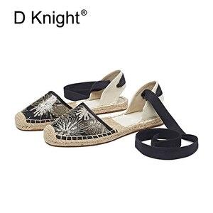 Image 5 - Düz kadın sandalet Espadrille ayakkabı kadın 2019 yaz rahat ayakkabılar loaferlar kadın ayak bileği kayışı sandalet örgü ayakkabı beyaz kenevir ayakkabı