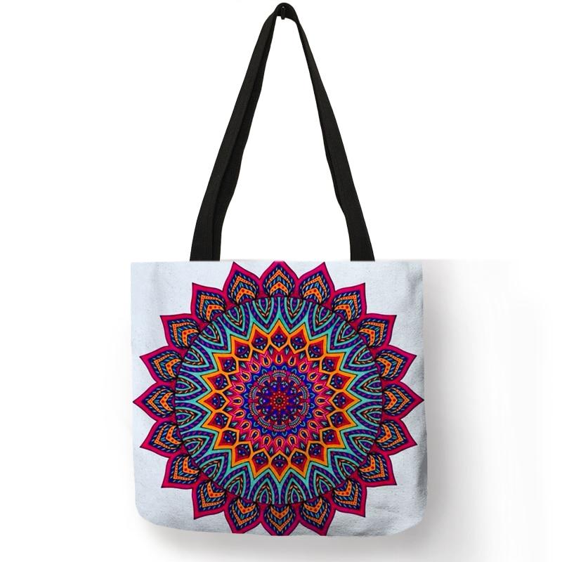 Mandala Flower Fabric Tote Bags For Women Eco Linen Reusable Shopping Bag  Folding Floral Print Handbags For Lady Traveling Beach a131a77f1e
