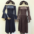 Женщины Slash Шеи Flare Рукавом Velvet Dress 2017 Весна Новые Высокой Талией Середины Икры Эластичный Велюр Dress Старинные Soild цвет Vestidos