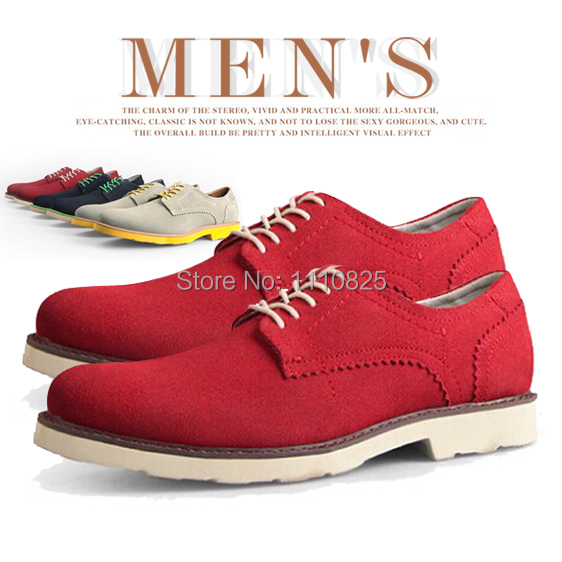 ФОТО Free shipping leather flats shoes for men, casual Loafers Hot NEW Driving Shoes (Red, yellow brown, blue, gray, dark brown)