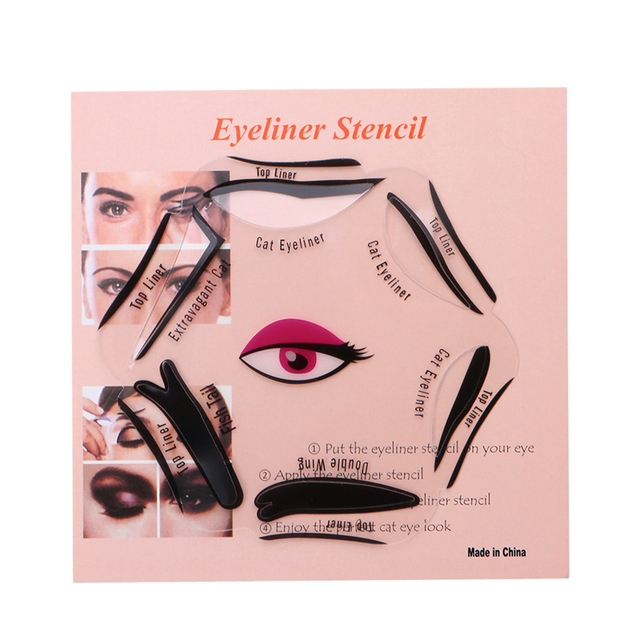 6 In 1 Eyeliner Stencil Set Template Quick Cat Smoky Tool Eye Liner Makeup Guide Tool 3