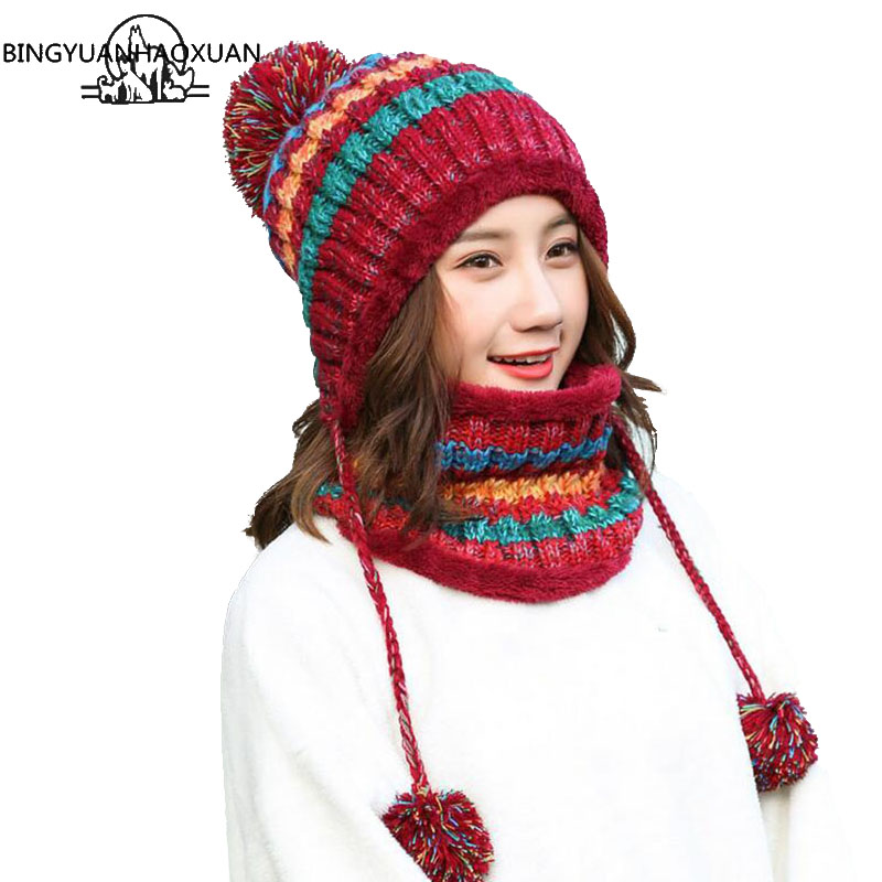 BINGYUANHAOXUAN 2017 Winter Knitted Hat Women Scarf Caps Mask Gorras Bonnet Warm Baggy Winter Hats For Girls   Skullies     Beanies