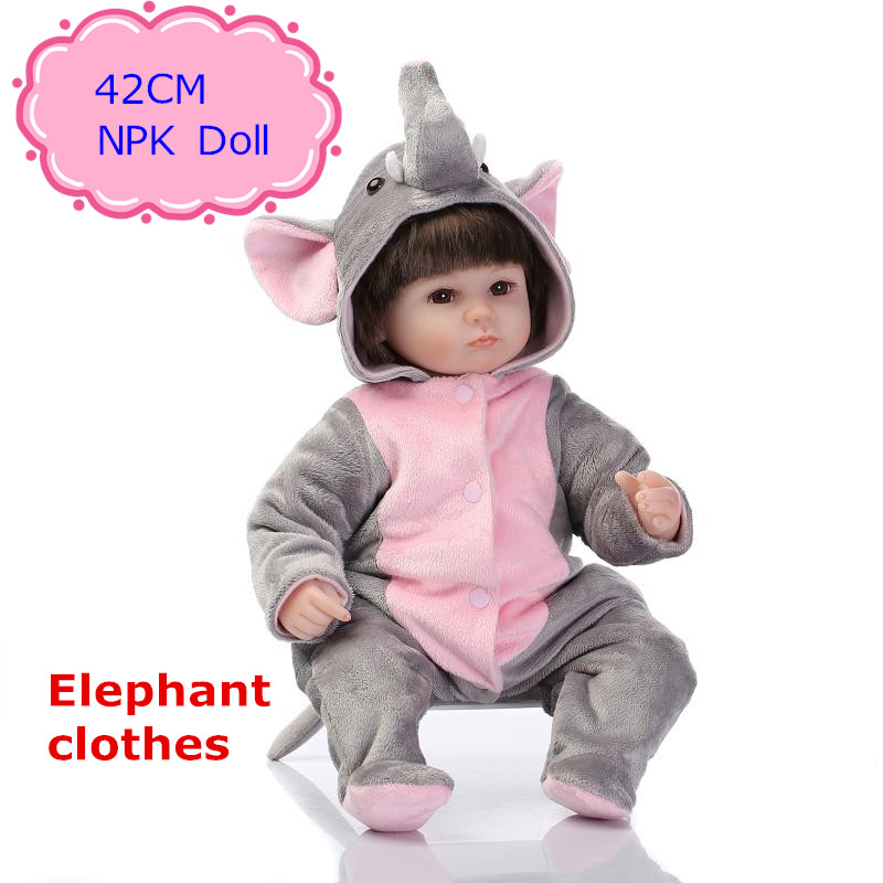 New Arrival NPK Silicone Reborn Baby Dolls About 42cm Wearing Elephant Clothes Lovely Reborn Dolls Babies