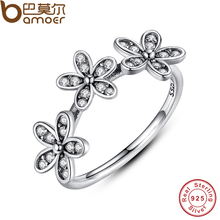 BAMOER Authentic 100% 925 Sterling Silver Dazzling Daisy Stackable Finger Ring Clear CZ Flower Jewelry Christmas Gift PA7126