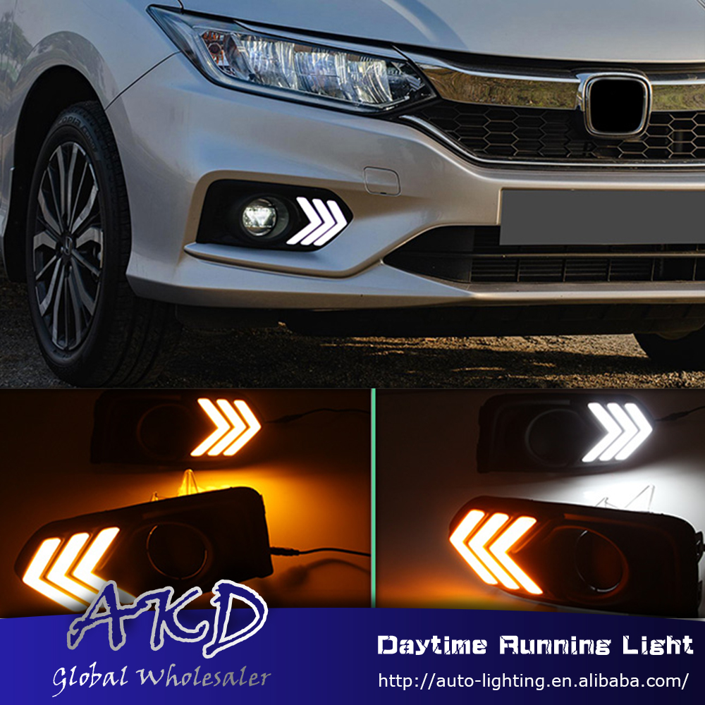 AKD Car Styling for Honda City 2017 LED DRL for New City Mustang Front Led Drl Running Light Fog Light Parking Accessories akd car styling for kia sportage r drl 2014 new sportager led drl korea design led running light fog light parking accessories
