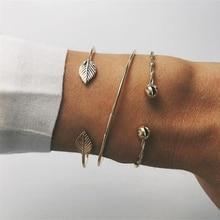 Vintage Metal Leaf Opening Bracelets
