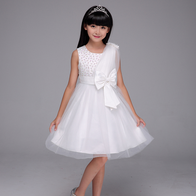 83bf7bfe3 Children Girl Party Wear Western Dress With High Quality Latest Hot Sale  Beautiful White Lace shoulder