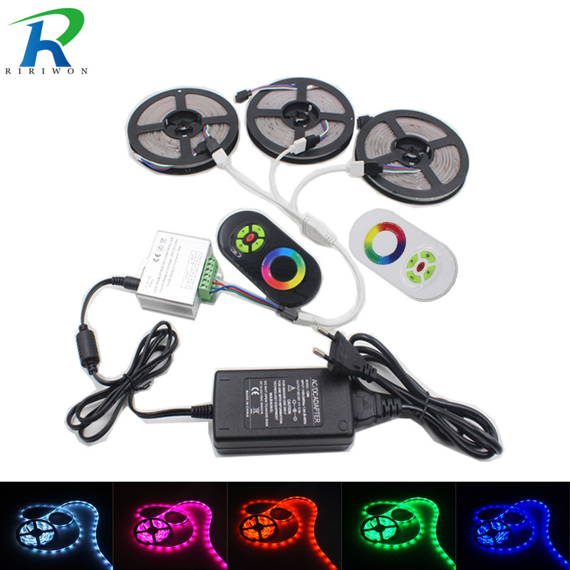 LED Strip Light RGB Led Tape Ribbon Waterproof LED RGB Flexible Light Strip DC12 SMD5050 5M 15M 10M 20M+Touch Controller+ Power riri won smd5050 rgb led strip waterproof led light dc 12v tape flexible strip 5m 10m 15m 20m touch rgb controller adapter