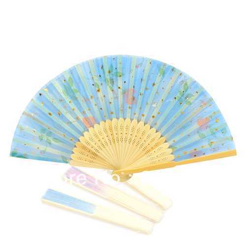 Art Handmade Flower Chinese Fans Silk folding Bamboo Hand Fan