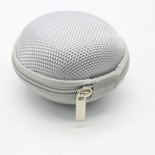 Round Headphones Box Earphone Earbuds Hard Case Trinketry Storage Carrying Pouch Bag SD Card Hold Charms Boxs Zipper Box(Sliver)