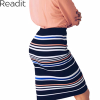 Womens Plus Size Stretch Pencil Midi Skirt Elastic Waist Band Knitted Printed Bodycon Skirt Black And