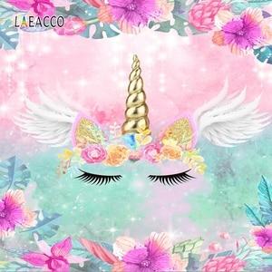 Image 1 - Laeacco çiçekler kanatları Unicorn bebek doğum günü Photophone fotoğrafçılık arka plan kişiselleştirilmiş fotoğraf fotoğraf stüdyosu için arka planında