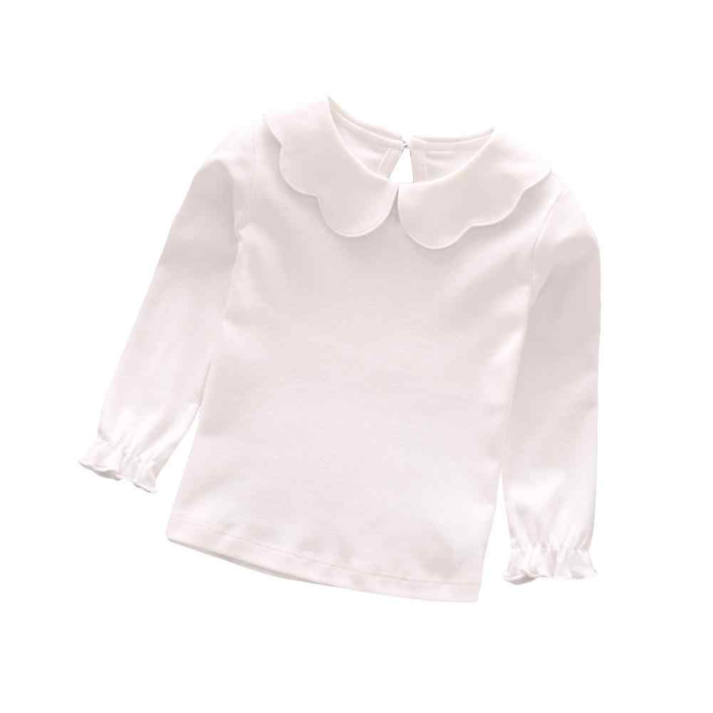 2018 Popular Baby Girl Kids Cotton Peter Pan Collar Long Sleeve Solid Color Top Cute T-shirt