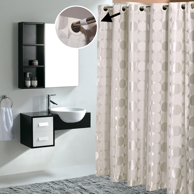 Large Ring Jacquard Shower Curtain Macroporous Waterproof Thickening High Grade