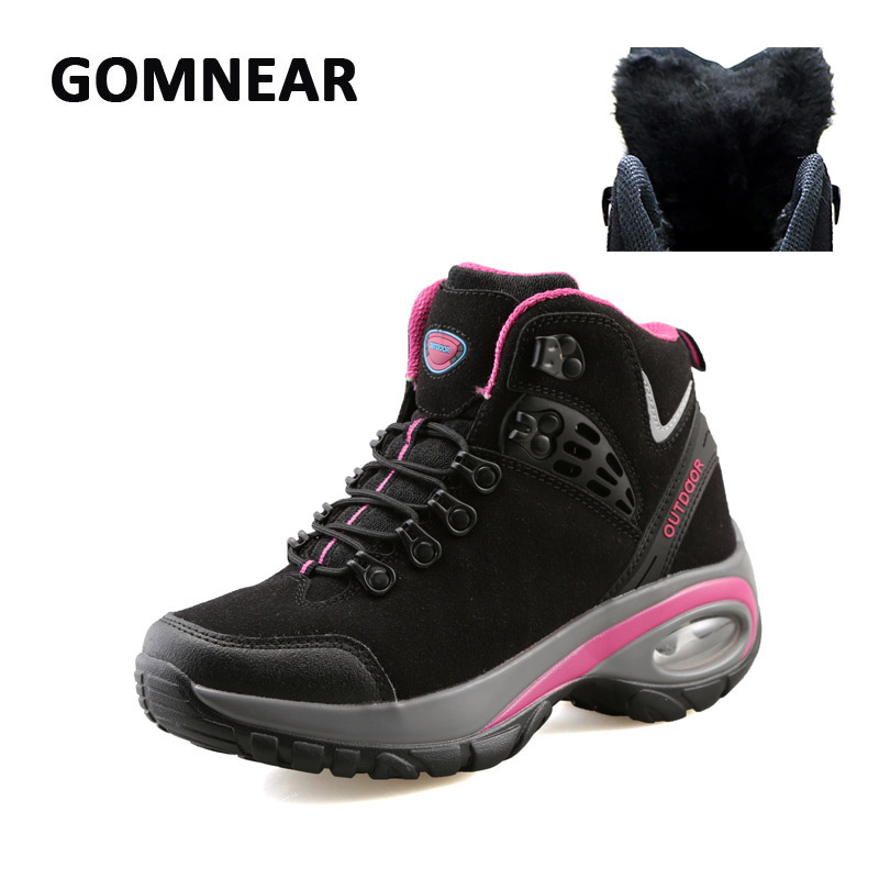 ФОТО GOMNEAR New Women Winter Fur Hiking Shoes Breathable Dynamic Waterproof Antisikid Shoes Outdoor Hunting Trekking Sports Sneakers