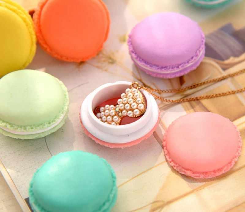 Kẹo xách tay Màu Dễ Thương Mini Macarons Đồ Trang Sức Ring Necklace Mang Theo Trường Hợp Tổ Chức Lưu Trữ Hộp 0.47