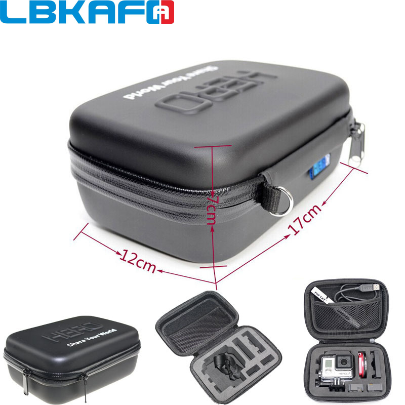 цена на LBKAFA Shockproof Waterproof Portable Hard Case Box Bag EVA Protection For SJCAM SJ4000 SJ5000 SJ6 SJ7 GoPro Hero 6 5 4 3+ Eken