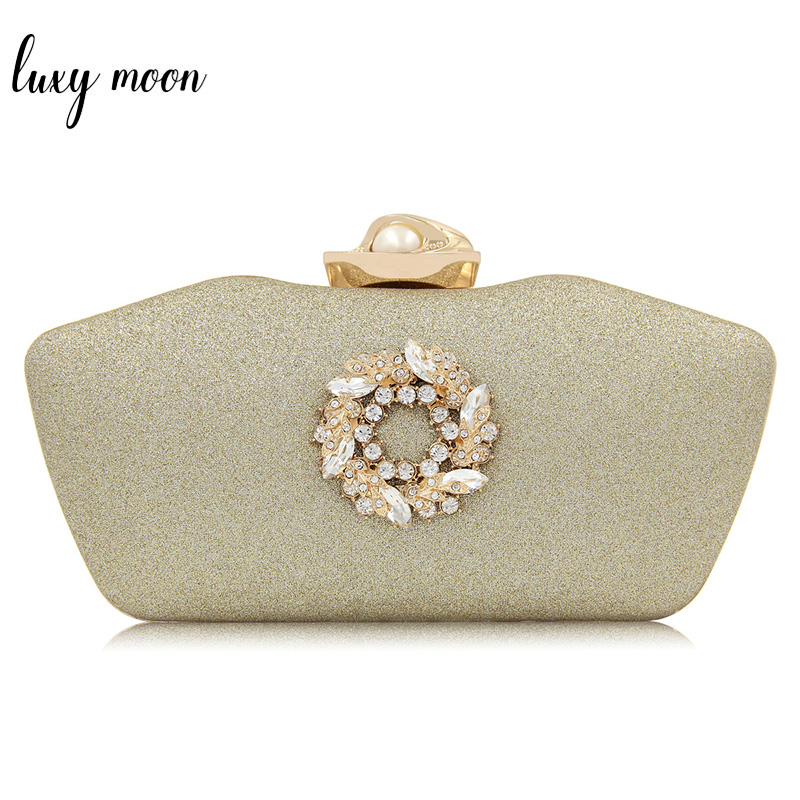 High Quality Rhinestone Flower Evening Clutch Bags For Women Unique Pillow Shape Wedding Clutches Shoulder Bag with Pearl Buckle chic rhinestone flower shape embellished hasp bracelet for women