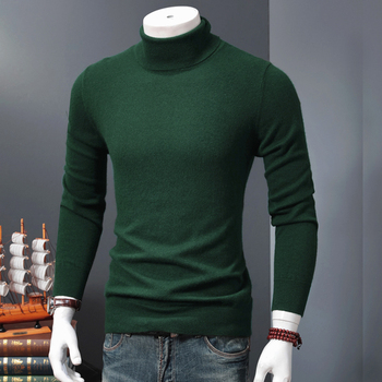 Man Sweater and Pullovers Cashmere and Wool Knitting Jumpers Hot Sale New Turtleneck 9Colors Sweaters Men Standard Clothes Tops