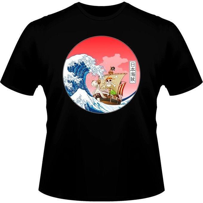 Tops & Tees Selfless Neck Designer Adults Casual Tee Shirt Camiseta Parodia De La Gran Ola De Kanagawa X El Going Merry De One Piecefitness T-shirts