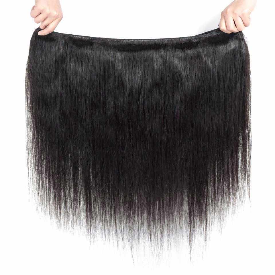 YYong бразильские прямые волосы 4 пучка с фронтальной 100% человеческих волос с 13*4 Бесплатная средняя часть уха до уха Кружева Фронтальная не Реми