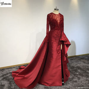 Image 4 - Surmount Customized Sexy Red Dresses O neck Long Sleeves Skirt with Slit Train Red Evening Gown vestidos de festa Prom Dresses