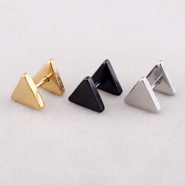 Hot Sale Women Men Triangle Ear Studs Silver Gold Black Stainless Steel Geometric Triangle Barbell Stud Earring Jewelry
