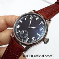 Fashion Vintage 44MM Black Sterile Dial Big Face Men's Watch Leather Strap Mechanical 6498 Hand Winding Movement Wristwatch Men