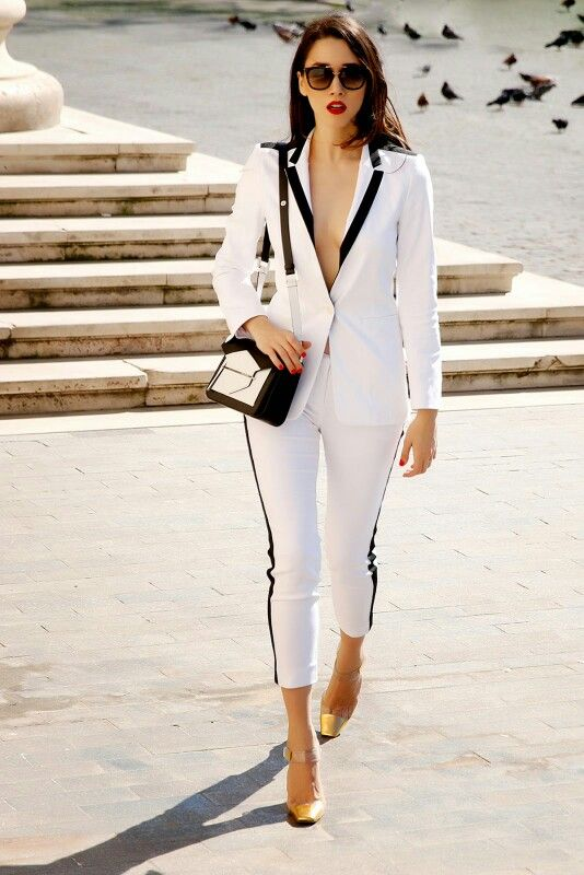 New Women White and Black Pants Suit Business Formal Uniform Designs Office Wear Set Ladies Party Evening Outfit Blazer W213