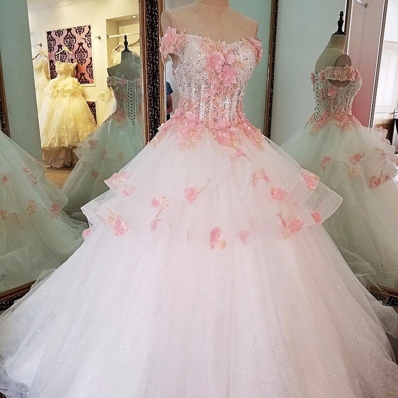 Backlake flowers wedding dress ball gown lace up back short sleeves beading long dresses for wedding party 2018 real photos