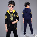 Retail children's sports suit boys 3-12 years old children big boys three suit uniforms Spring clothes Jacket + Trousers+T-shirt