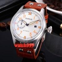 47MM parnis mechanical men watches light color handmade brown strap white dial orange digital automatic men's watch