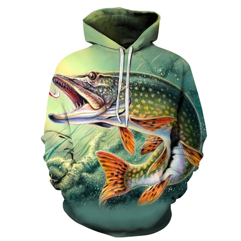 2019 fisch Männer Gedruckt 3D HOODIE Blau Rick Jurassic Park Wolf Hoodie Sweatshirts Herbst Winter Pullover Harajuku hoodies dropship