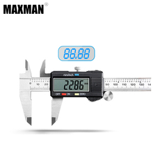 MAXMAN 0-100/0-150/0-200/0-300mm All Stainless Steel High Precision Electronic Digital Vernier Caliper Measuring & Gauging Tools 15 300mm inside groove digital vernier caliper with knife edge with flat point electronic high precision good quality