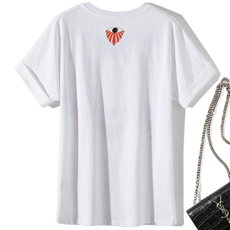 T Shirt Women Cotton Summer 2019 New Round Neck Short Sleeved Cartoon Printed Simple Loose T-Shirts Female S-XL