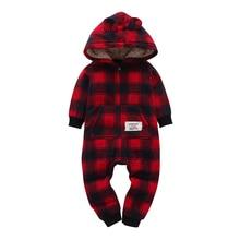 long sleeve hooded fleece jumpsuit plaid unisex baby winter Warm costume Infant toddler boy girl Rompers