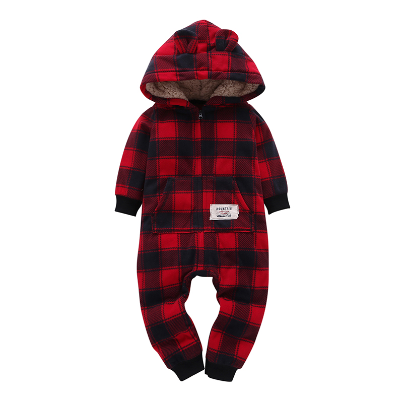 long sleeve hooded fleece jumpsuit plaid unisex baby winter Warm costume Infant toddler boy girl   Rompers   newborn baby clothes