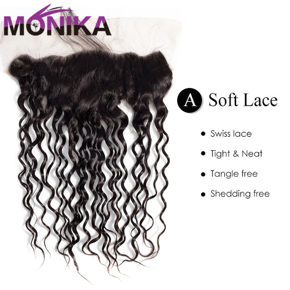 Monika Hair Brazilian Water Wave Lace Frontal Pre Plucked Ear To Ear Frontal Closure with Natural Color Non Remy