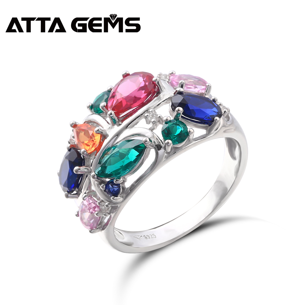Sapphire Ruby Sterling Silver Rings for Women Wedding Engagement S925 Wedding Band 6 3 Carats Created