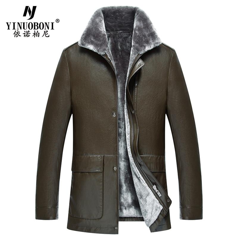 Winter Warm Sheepskin Mens Fur Leather Jackets and Coats Russian Style Streewear Mens Fur Leather Jackets Overcoats Velvet Y8365