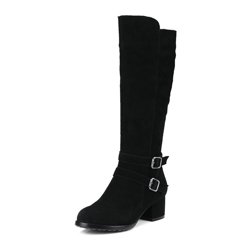2018 Western Style Women Boots Short Plush Knee-high Boots Cow Suede Zippers Square High Heels Ladies Long Boots Size 34-40 esveva 2018 women boots zippers black short plush pu lining pointed toe square high heels ankle boots ladies shoes size 34 39