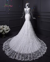 New Romantic Beading Lace Mermaid Wedding Dresses 2015 Spaghetti Straps Sweetheart Vestidos Sexy Backless Bride Gowns