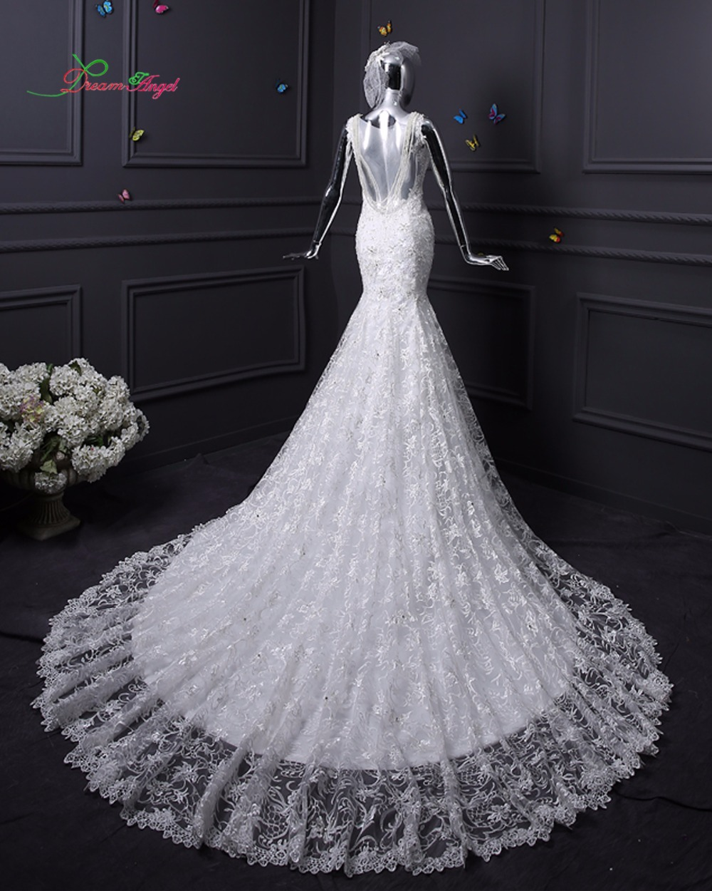 dream angel beaded lace mermaid wedding dress 2017