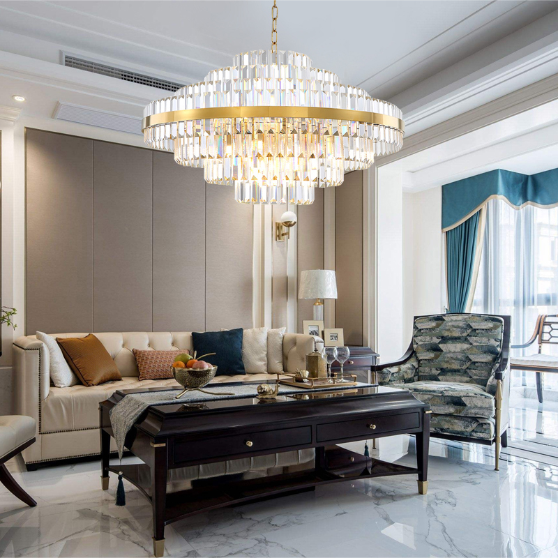 Light luxury led crystal chandelier lighting for living dining room bedroom gold yrandole kryszta owe in the hall chandeliers