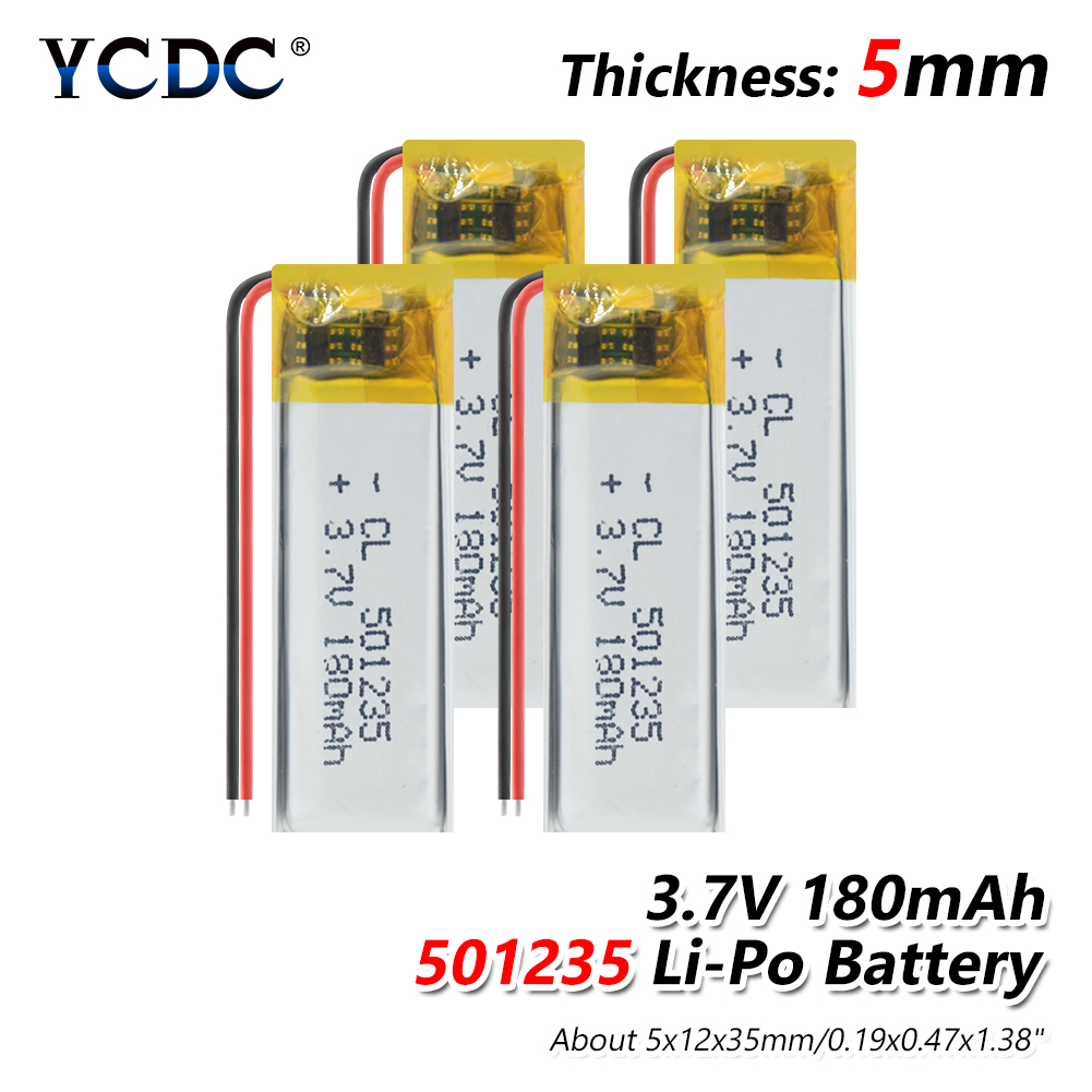 501235 3.7v 180mAh Li Po Ion Lipo Lithium Polymer Battery 3 7V Volt 1/2/4Pcs Rechargeable Batteries For Dvd GPS Navigation