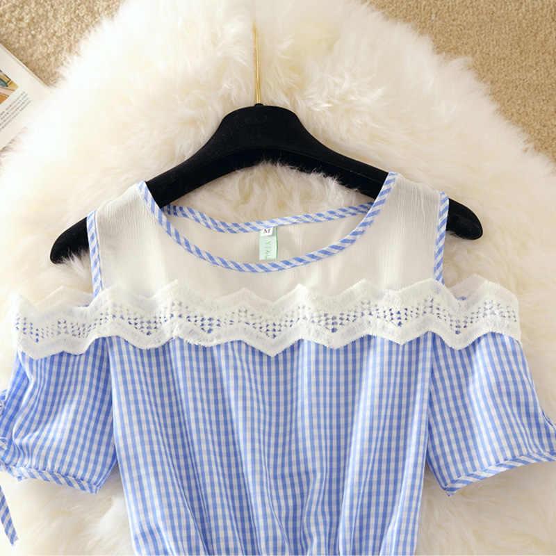 Летнее платье-рубашка с коротким рукавом, с открытыми плечами, в клетку, Синяя Женская рабочая одежда, мини-платье, офисный сетчатый туника, женская одежда, S-2XL E151